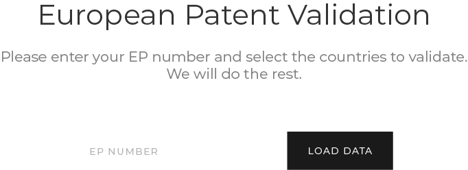 Prewiev of Passport European patent validation software showing the patent number input field.